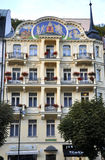 Karlovy-Vary,August 28:Hotel Fatade at dusk in Karlovy Vary in Czech Republic royalty free stock photos