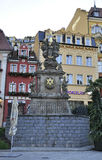 Karlovy-Vary,August 28:Monument in the evening downtown in Karlovy Vary in Czech Republic royalty free stock images