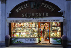 Karlovy-Vary,August 28:Souvenirs Shop downtown in Karlovy Vary in Czech Republic Royalty Free Stock Images