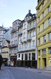 Karlovy-Vary,August 28:Street view at dusk in Karlovy Vary in Czech Republic Royalty Free Stock Photo