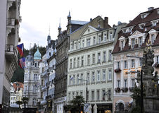 Karlovy-Vary,August 28:Street view at dusk in Karlovy Vary in Czech Republic stock image