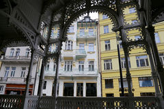 Karlovy Vary (Carlsbad) -- famous spa city in western Bohemia, very popular tourist destination in Czech Republic Stock Photos