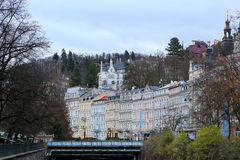 Karlovy Vary (Carlsbad) -- famous spa city in western Bohemia, very popular tourist destination in Czech Republic Stock Image