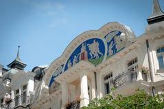 Karlovy Vary center, Czech Republic. Karlovy Vary, Czech repulic, detail of art nouveau architecture Stock Images