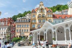 Karlovy Vary center, Tržní Kolonáda, Czech Republic. Karlovy Vary, Czech repulic, Tržní Kolonáda Royalty Free Stock Images