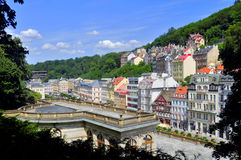 Karlovy Vary city. City center in Karlovy Vary - Czech Republic stock image