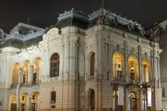 Karlovy Vary City Opera Theatre at night, Czech stock photography