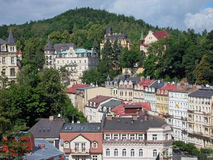 Karlovy Vary, the city view. The view to the Sadova street in Karlovy Vary, Czech Republic. Taken from the Bristol Palace hotel stock image