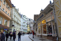 Karlovy Vary commercial street Royalty Free Stock Image