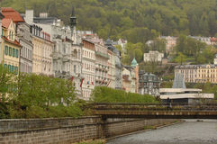Karlovy Vary Czech Republic. Bridge over Tepla river in Karlovy Vary, the spa town in Bohemia, the western part of the Czech Republic stock images