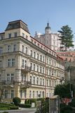 KARLOVY VARY, CZECH REPUBLIC - APRIL 20, 2010: Buildings in Karlovy Vary or Carlsbad that is a spa town situated in western Bohemi Royalty Free Stock Photography