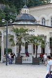 Karlovy Vary, Czech Republic - World Spa. Karlovy Vary, CZECH REPUBLIC - AUGUST 14: World Spa with many healing springs. Here the fountain `Svoboda` and the spa Stock Photography