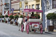 Karlovy Vary, Czech Republic - City explore with Horse Carriage Stock Images