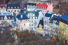Karlovy Vary aerial panorama, Czech Republic Royalty Free Stock Photos