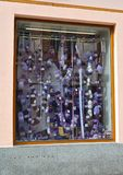 KARLOVY VARY, CZECH REPUBLIC. Hanks of woolen threads on a show-window of haberdashery royalty free stock images