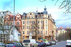 Karlovy Vary Czech Republic. Karlovy Vary hotels in beautiful scenery. Popular spa resort in Czech Republic.Central Europe Stock Photography