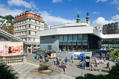 Hot spring colonnade in spa town Karlovy Vary, West Bohemia, Czech republic. KARLOVY VARY, CZECH REPUBLIC - JUL 6, 2017: Hot spring colonnade in spa town Royalty Free Stock Photography