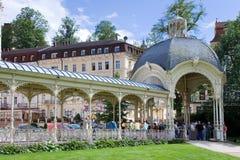 Snake spring colonnade in spa town Karlovy Vary, West Bohemia, Czech republic. KARLOVY VARY, CZECH REPUBLIC - JUL 6, 2017: Snake spring colonnade in spa town Stock Image