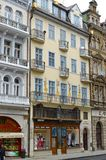 KARLOVY VARY, CZECH REPUBLI. A building facade in modernist style Royalty Free Stock Photo