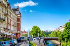 KARLOVY VARY, CZECH REPUBLIC - MAY 26, 2017: Column by Postovni Stock Photos