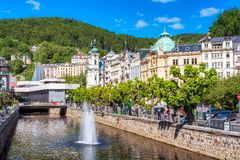 KARLOVY VARY, CZECH REPUBLIC - MAY 26, 2017: Historic city cente Stock Images
