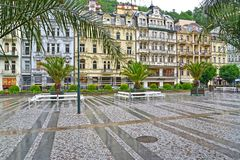 KARLOVY VARY, CZent overlooking a complex of hotel buildings Royalty Free Stock Images