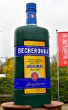 Big Statue of drink Becherovka. Karlovy Vary, Czech Republic, October 2017: Big statue of Becherovka bottle. Becherovka is a traditional herbal bitters liquer royalty free stock photos