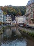 Karlovy Vary, Czech Republic - October 14, 2017, the central street of the resort city Stock Photo