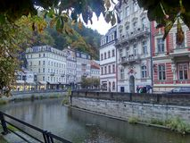 Karlovy Vary, Czech Republic - October 14, 2017, the central street of the resort city Royalty Free Stock Photos