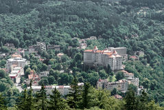 Karlovy Vary, Czech Republic. Panoramic view of Karlovy Vary or Carlsbad Stock Images