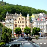 Karlovy Vary, Czech Republic, a popular tourist destination, especially known for international celebrities visiting for spa treat. The city is also known for Royalty Free Stock Images