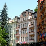Karlovy Vary, Czech Republic, a popular tourist destination, especially known for international celebrities visiting for spa treat. The city is also known for Stock Image