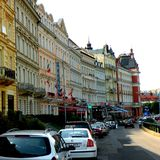 Karlovy Vary, Czech Republic, a popular tourist destination, especially known for international celebrities visiting for spa treat. The city is also known for Stock Photos
