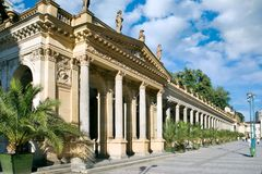 Mill colonnade in spa town Karlovy Vary, West Bohemia, Czech republic. KARLOVY VARY, CZECH REPUBLIC - SEPT 6, 2014: Mill colonnade in spa town Karlovy Vary Royalty Free Stock Images