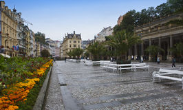 KARLOVY VARY, CZECH REPUBLIC - SEPTEMBER 14, 2014: tourists on small streets of the old city on September 14, 2014 in Karlovy Vary Stock Photo