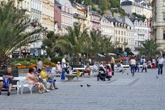 Karlovy Vary, Czech Republic - World Spa. Karlovy Vary, CZECH REPUBLIC - AUGUST 14: World Spa with many healing springs. The spa guests and many tourists resting Stock Photo