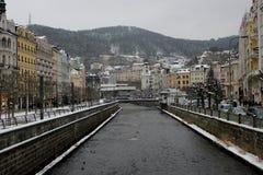 Karlovy Vary en hiver Image stock