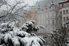 Karlovy Vary. The fog. A winter image of Karlovy Vary, Czech Republic. The fog is actually the vapour produced by hot springs stock image
