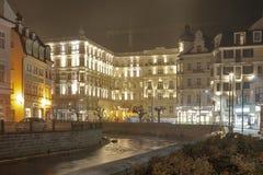 Karlovy Vary Grandhotel Pupp at night royalty free stock photos