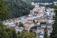 Karlovy Vary. High angle view of the spa town of Karlovy Vary royalty free stock image