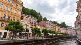 KARLOVY VARY - JUNE 13: Time lapse shot of Karlovy Vary, Czech republic on June 13, 2017 in Karlovy Vary stock video footage