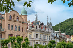 Karlovy Vary Karlsbad. Detai of typical bohemian architecture in city center of Karlovy Vary - Czech Republic Stock Images