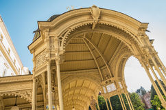 Karlovy Vary Karlsbad. Detail of typical colonnade architecture with mineral springs in Karlovy Vary - Czech Republic Royalty Free Stock Photo