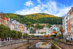 Karlovy Vary (Karlsbad) at sunny day Royalty Free Stock Photos