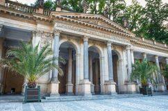 Karlovy Vary Karlsbad. Typical colonnade with mineral spring in Karlovy Vary - Czech Republic Stock Image