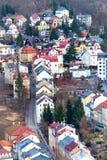 Karlovy Vary-Luftpanoramaansicht, Tschechische Republik Stockfoto