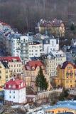 Karlovy Vary-Luftpanoramaansicht, Tschechische Republik Stockfotos