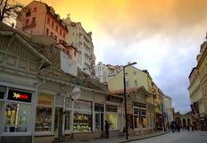 Karlovy Vary main commercial street Royalty Free Stock Photos