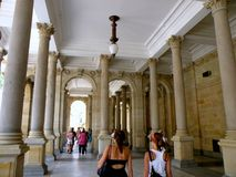 Karlovy Vary. Is a popular tourist destination, especially known for international celebrities visiting for spa treatment. The city is also known for the stock image