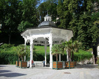 Karlovy Vary, Pramen Svoboda. This cosy gazebo places Pramen Svoboda (the Liberty Spring) in Karlovy Vary, Czech Republic stock photo
